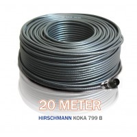20 meter Hirschmann Koka 799 zwart + 1x EX-6 Weaterproof F-connector gemonteerd